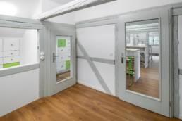 Gärtnerhaus,Blick durch die Türen in den Arbeitsraum