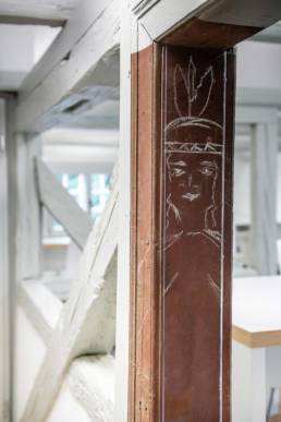 Gärtnerhaus, Alte Zeichnung, Indianer